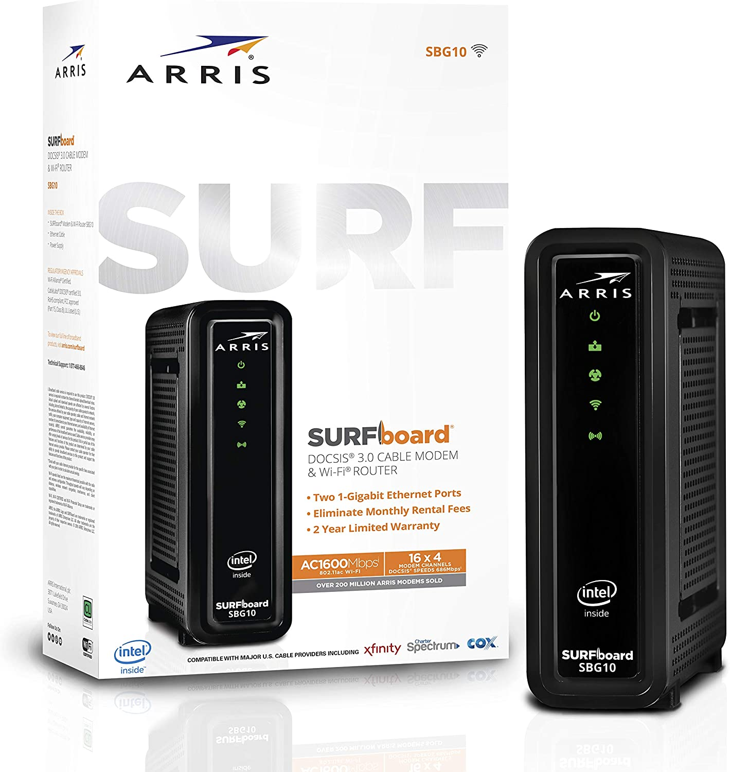 ARRIS Surfboard SBG10 DOCSIS 3.0 Cable Modem & AC1600 Dual Band Wi-Fi Router Best Modem Router Combo For Cox, Spectrum, Xfinity & Others