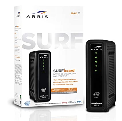 ARRIS Surfboard (16x4) DOCSIS 3 0 Cable Modem Plus AC1600 Dual Band Wi-Fi  Router, 686 Mbps Max Speed, Certified for Xfinity, Spectrum, Cox & More