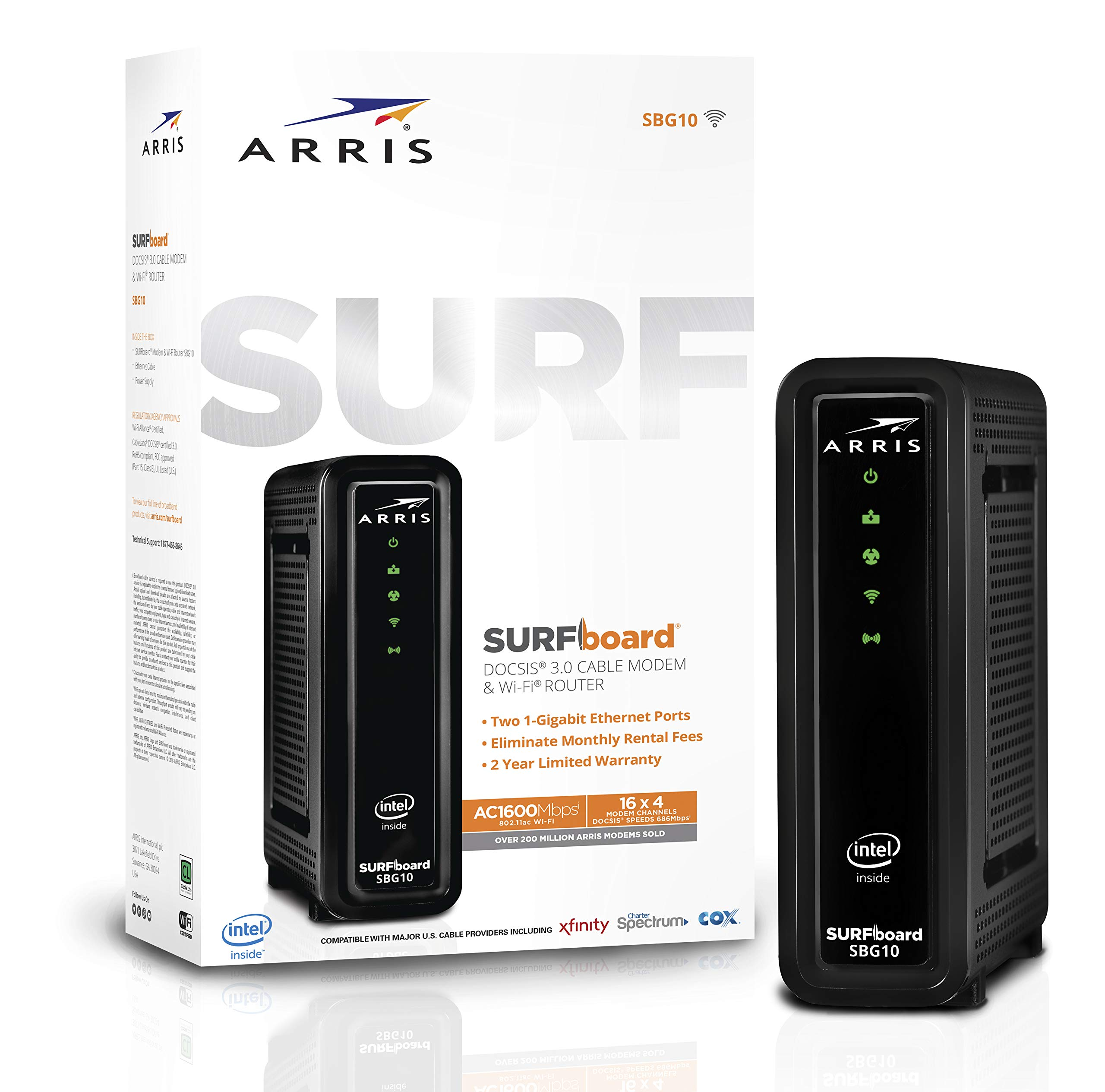 ARRIS Surfboard (16x4) DOCSIS 3.0 Cable Modem Plus AC1600 Dual Band Wi-Fi Router, 686 Mbps Max Speed, Certified for Xfinity, Spectrum, Cox & More (SBG10) by ARRIS (Image #1)