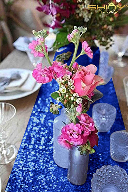 chemins de table blancs /à paillettes fournitures de f/ête de mari/ée d/écorations de douche Chemin de table blanc Lot de 5 serviettes blanches douces 16 fournitures de f/ête 12x72-Inch Red