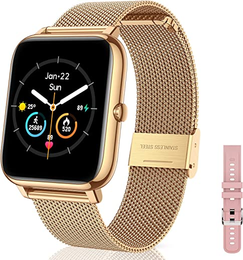Canmixs Smartwatch Orologio Fitness Donna Uomo Acciaio Bluetooth Smart Watch Cardiofrequenzimetro Da Polso Contapassi Conta Calorie Smartwatch Impermeabile Sportivo Activity Tracker Per Android ios