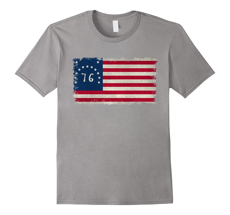 American 1776 Bennington flag with worn vintage textures-Vaci
