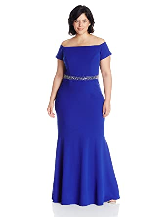 Alex Evenings Women\'s Plus Size Long Off the Shoulder Dress with Beaded  Waist