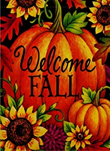 Selmad Home Decorative Happy Fall Yall Garden Flag Welcome Quote Double Sided, Autumn Sunflowers House Yard Flag, Rustic Harvest Pumpkin Yard Decorations, Sunflower Seasonal Outdoor Flag 12 x 18
