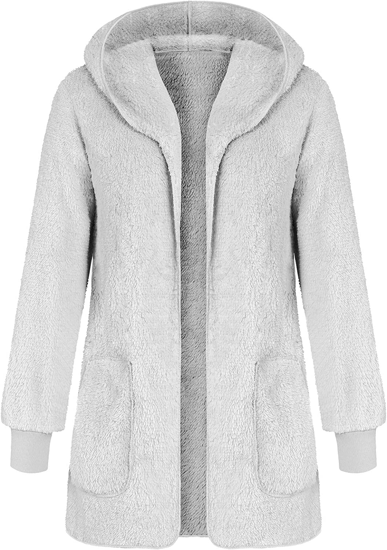 Ladies Hooded Faux Fur Cardigan Open Front Fluzzy Fleece Sweater Coat Gray XL