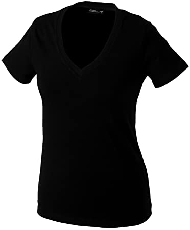 James & Nicholson Damen Fitness T-Shirt V-Ausschnitt, black, S,