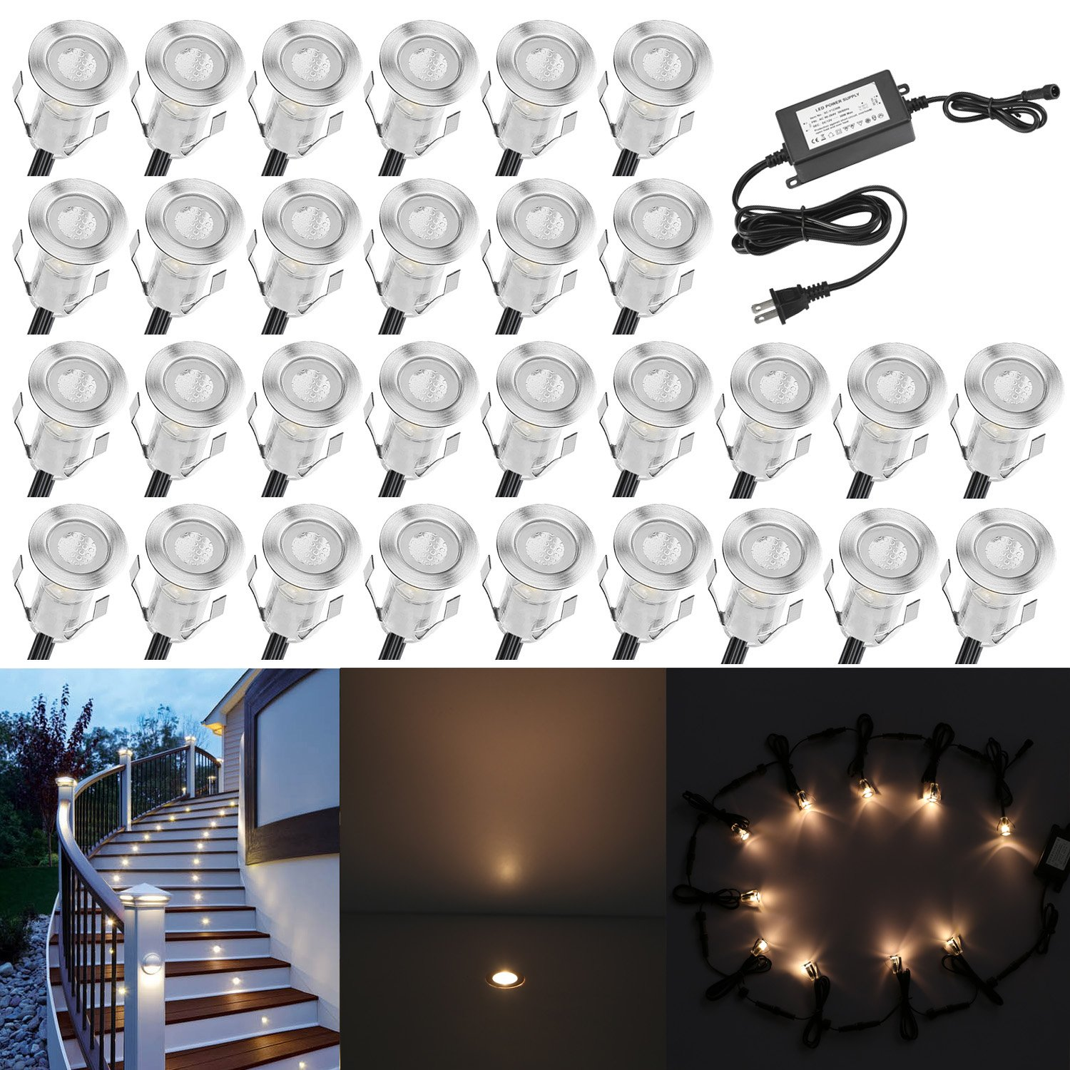 QACA 0.7'' Tiny Warm White LED Deck Light Kit, Stainless Steel Waterproof Recessed Wood Decking Stairs Garden Yard Patio Decor Lamp Low Voltage Outdoor LED Lighting, Pack of 30 by QACA