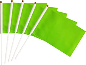 Green Stick Flags,50 Pack Hand Held Small Mini Solid Flag On Stick,5x8 Inch Outdoor Decoration,Party Decorations,Supplies for Parades, Festival Events Celebration (Green)