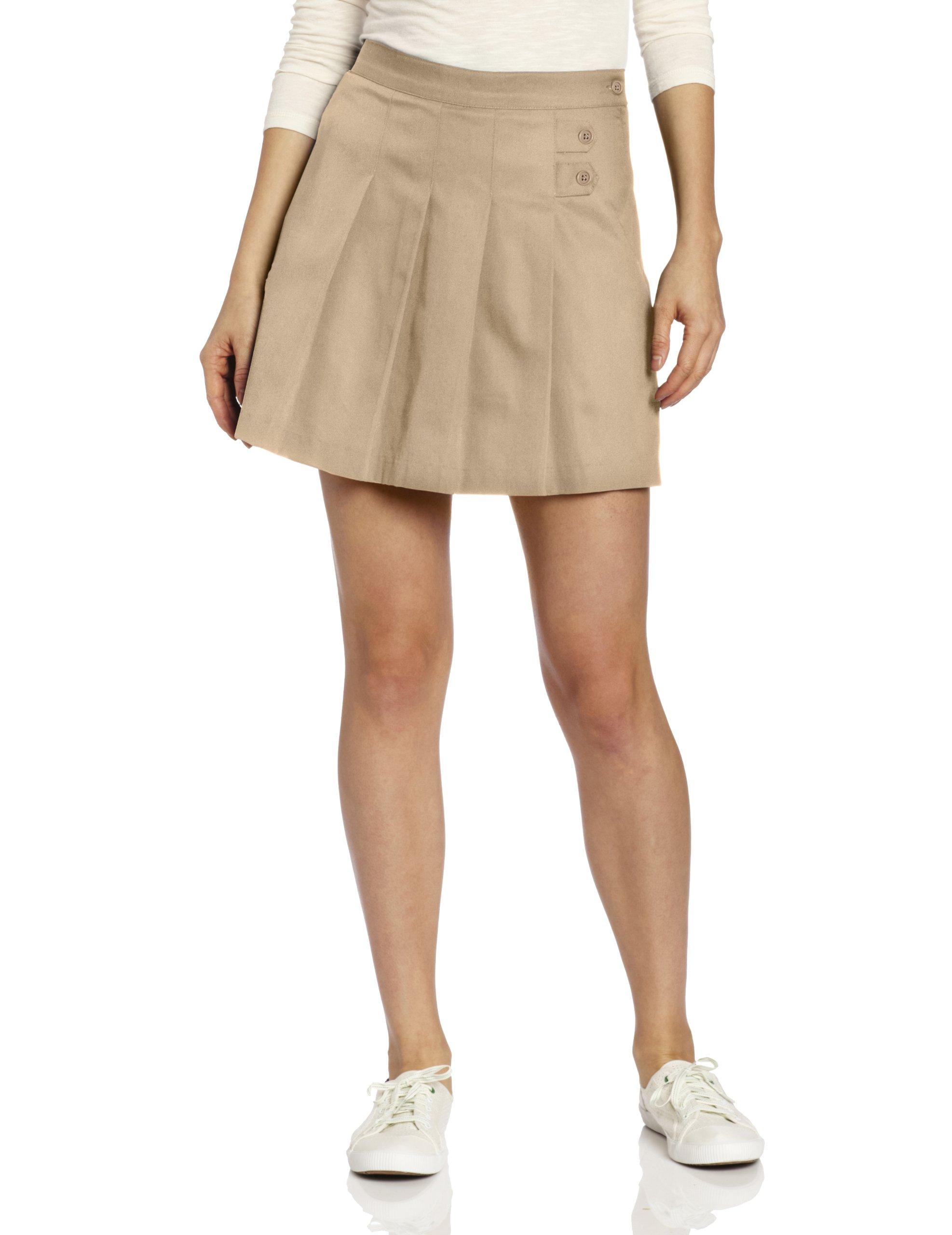 CLASSROOM Juniors Tab Pleat Scooter Skirt, Khaki, 5/6