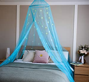 Clubhouse Décor Bed Canopy with Fluorescent Stars | Canopy for Girls Bed, Boys, Baby | Bed Tent | Canopy Bed Curtains | Mosquito Net to cover full size Bed | Net for Bed |Fire Retardant Fabric (Azure)