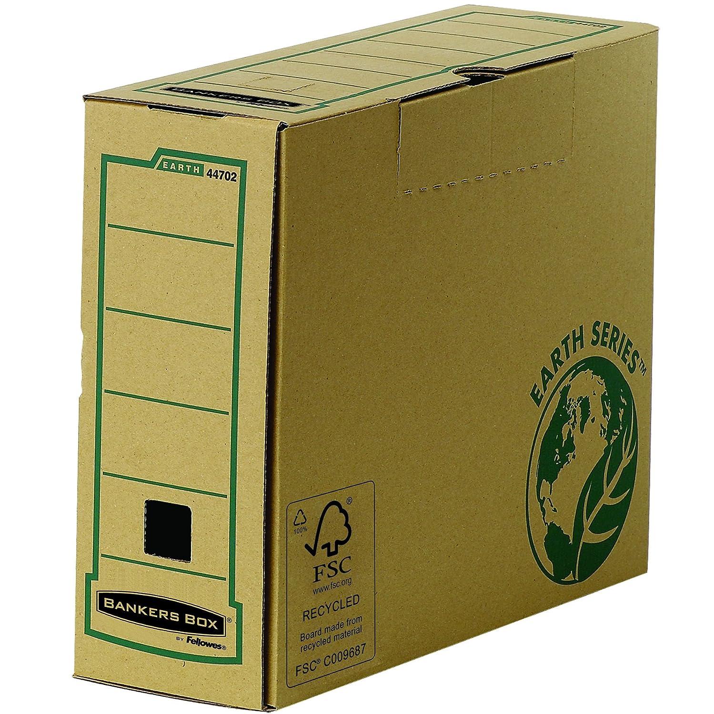 Fellowes 4470101 Boî te d'archives Dos de 8cm format A4 Banker Box Earth Series - Montage manuel Marron (lot de 20) boite archives boîte d' archives bankers box FSC recyclable écologique 80mm dos 8 archivage carton rangement classement