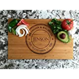 Personalized by Name Cutting Board for Kitchen - Wood Cutting Boards Housewarming Gifts (11 x 17 Single Tone Bamboo Rectangular, Jenson Design)