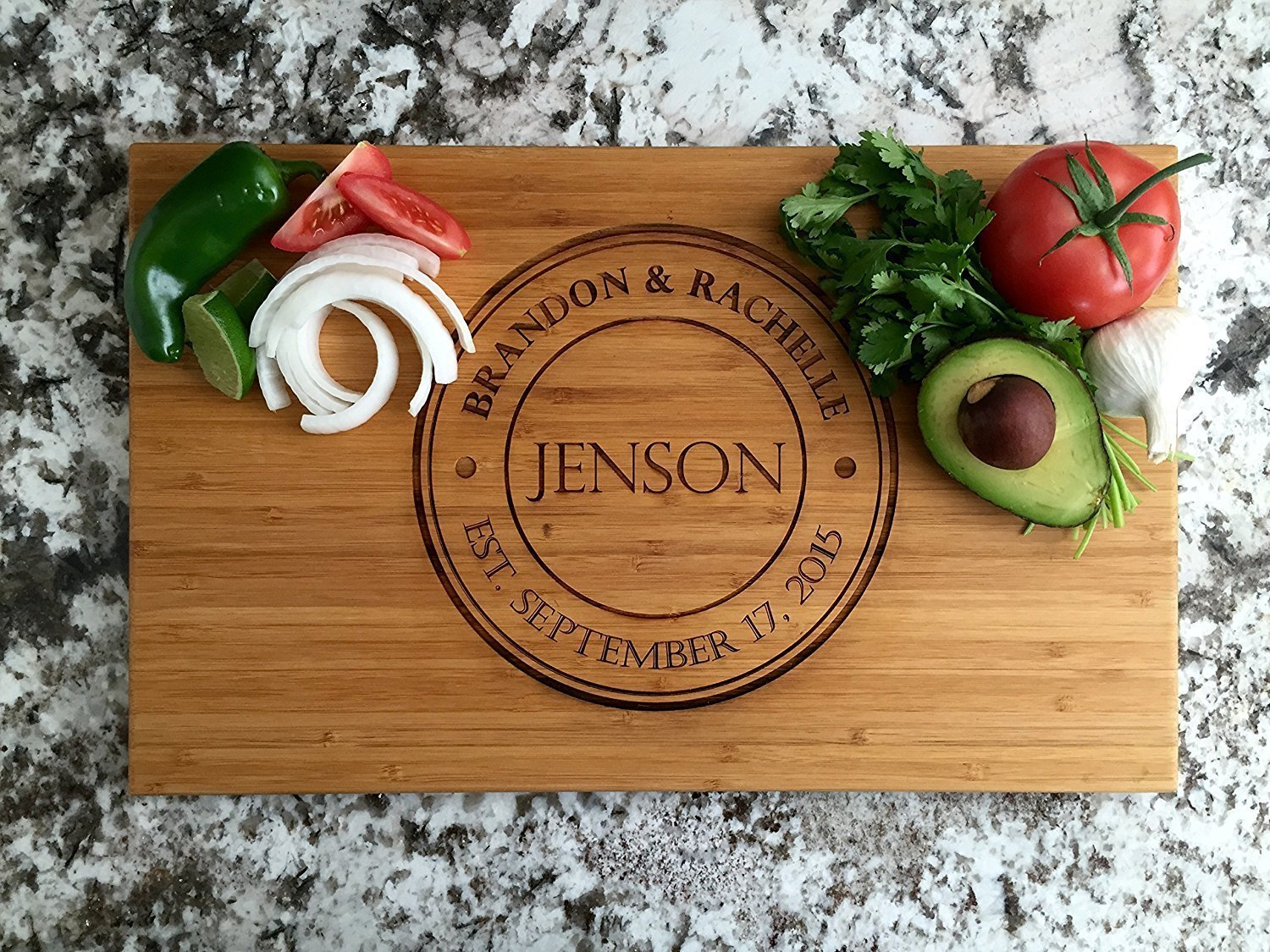 Personalized Wedding Gifts Cutting Board - Wood Cutting Boards, Also Bridal Shower and Housewarming Gifts (11 x 17 Single Tone Bamboo Rectangular, Jenson Design)