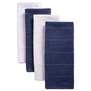 """DII Cotton Luxury Chef Terry Dish Towels, 16x26"""" Set of 4, Ultra-Absorbent Cleaning Drying Kitchen Towels-French Blue/White"""