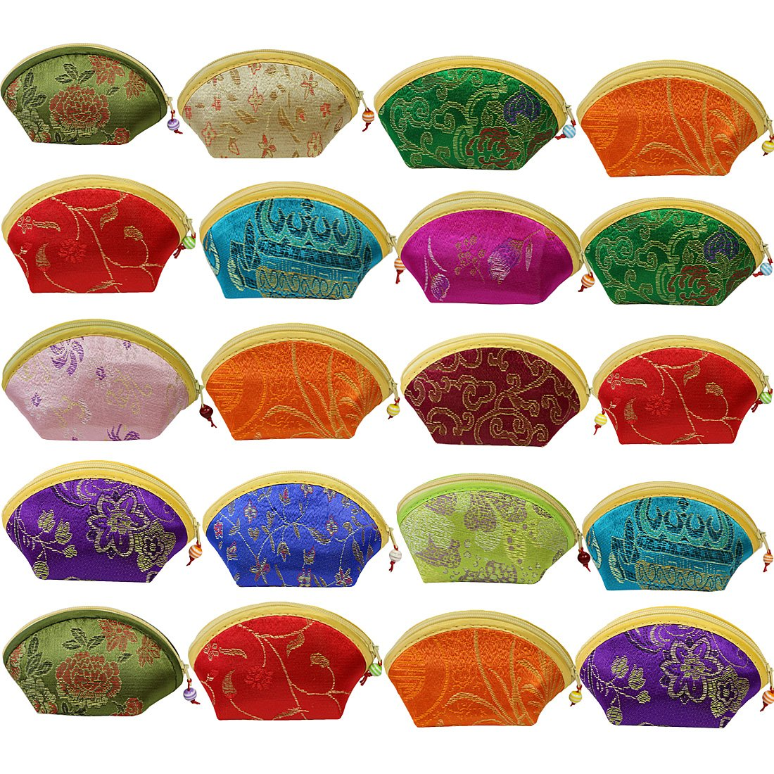 kilofly 20pc Chinese Silk Embroidered Brocade Gift Jewelry Coin Purse Pouch Set by kilofly