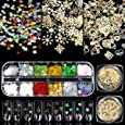 Simliber 1 Sets/3Boxes 3D Snowflake Sequins for Nail Art Decoration Glitter Set Sparkly DIY Nail Accessories Christmas Nail Designs Trendy Christmas Nail Art Stickers DIY Nail Decals Manicure