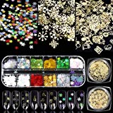 Simliber 1 Sets/3Boxes 3D Snowflake Sequins for Nail Art Decoration Glitter Set Sparkly DIY Nail Accessories Christmas…