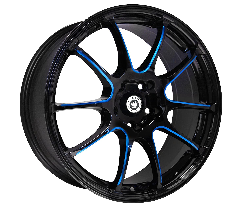 Konig Illusion Black Ball Cut Blue Wheel 17x7//5x114.3mm