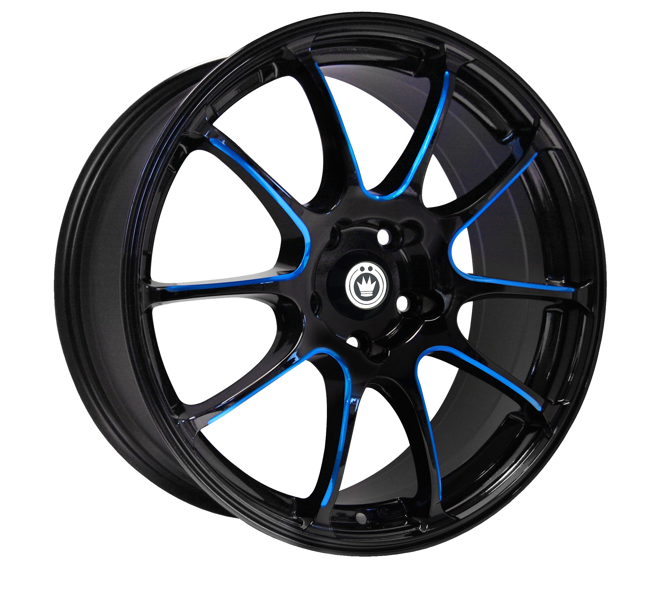 Konig Illusion Black Ball Cut Blue Wheel (17×7″/5×114.3mm)