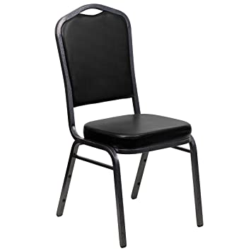 Flash Furniture HERCULES Series Crown Back Stacking Banquet Chair In Black  Vinyl   Silver Vein Frame