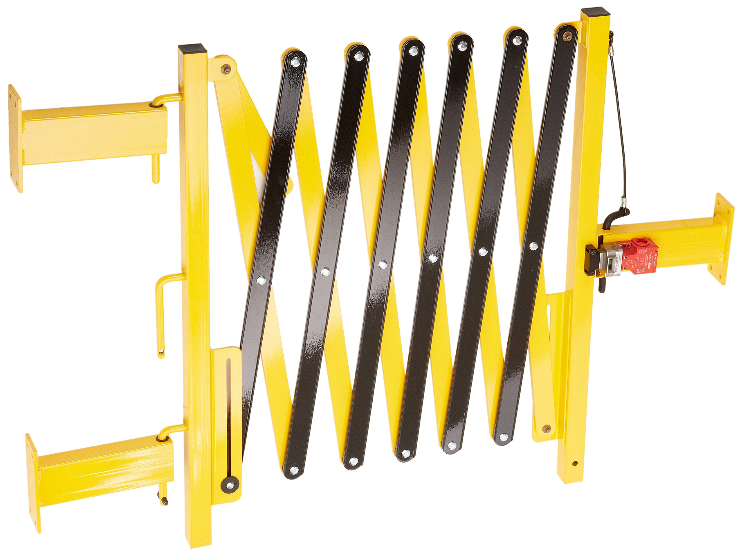 Rear-Guard RG-1000 Aluminum/Steel Machine Guarding Barricade with Mounting Bracket and Interlock Switch, 36'' Height, Yellow/Black