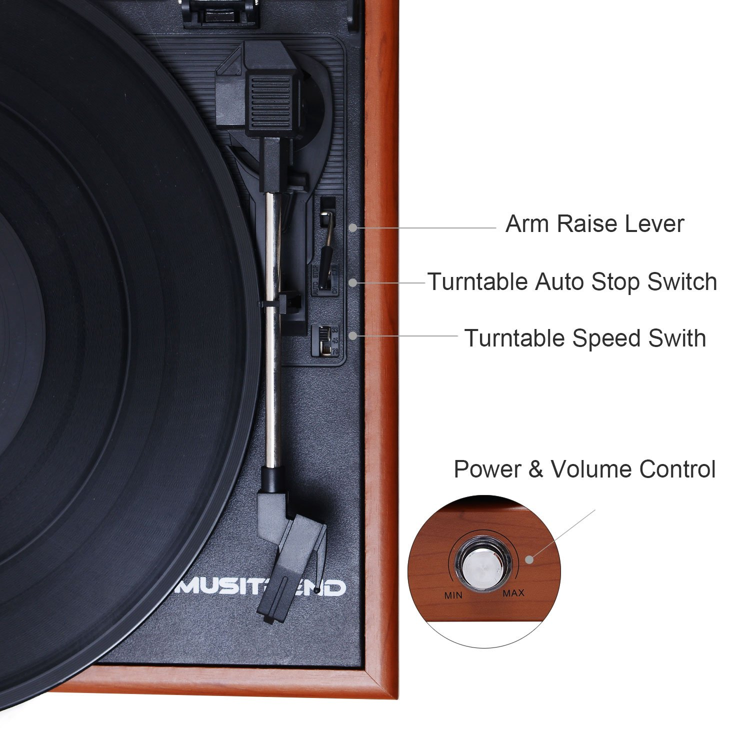 Musitrend Vinyl Record Player 3 Speed Portable Turntable Suitcase Record Player Built in Speakers RCA Line Out AUX Headphone Jack PC Recorder,Wood