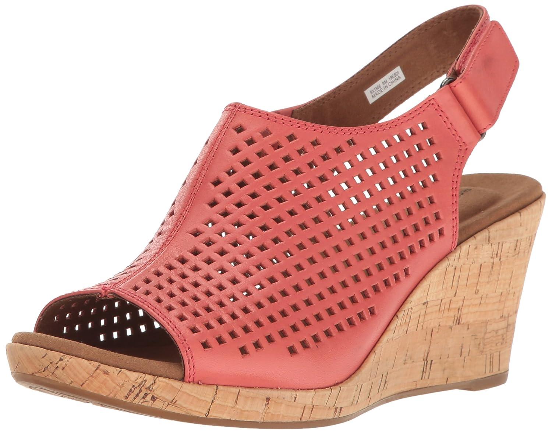 Rockport Women's Briah Perf Sling Wedge Sandal B01J3AIKFY 6 W US|Coral Leather