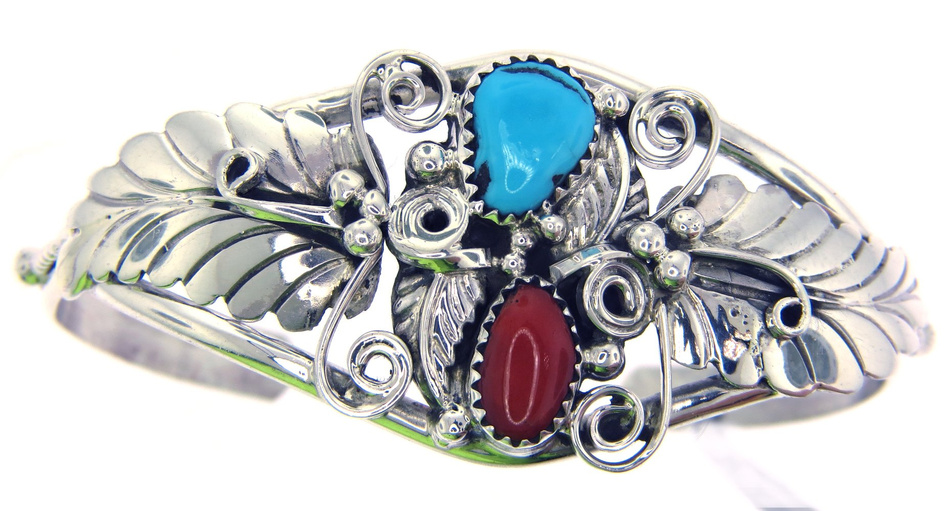 USA Made By Navajo Artist Alice Johnson: Genuine Navajo Turquoise-Coral Women's Bracelet
