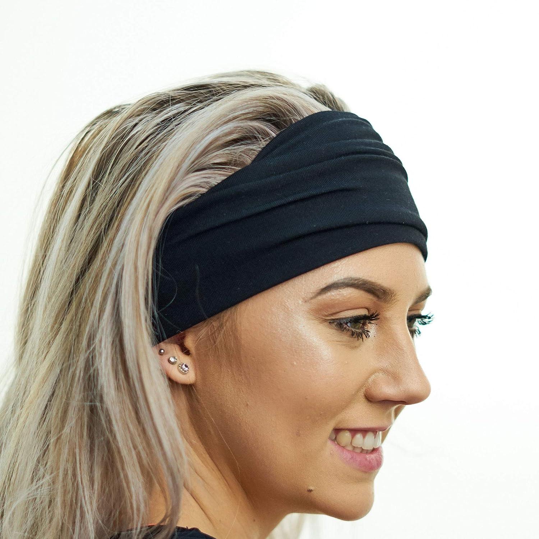 Unisex 7cm Stretch Headband Bandeaux Sport Dance Training White or Black