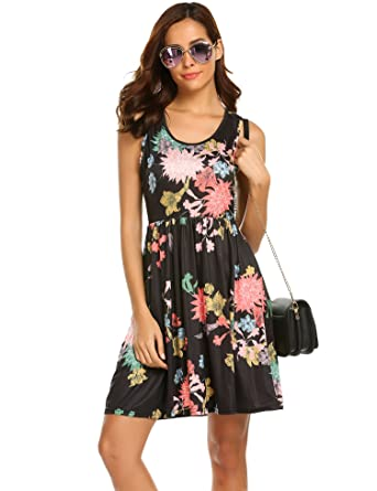 af87b1434b37e Image not available for. Color: SimpleFun Women's Floral Printed Sleeveless  Dress Summer Aline Empire Wasit Mini Dress Black