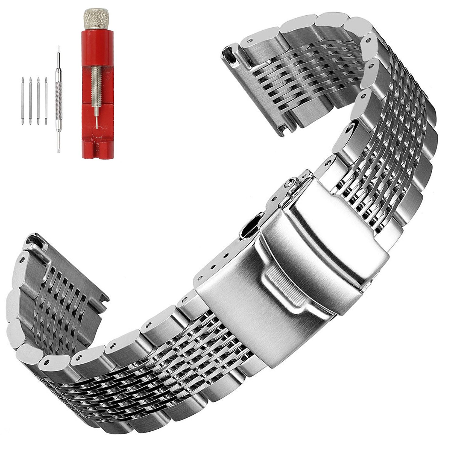 Solid Mesh Stainless Steel Bracelets 20mm/22mm/24mm Watch Bands Deployment Buckle Brushed/Polished Strap for Men Women by Hstrap (Image #1)