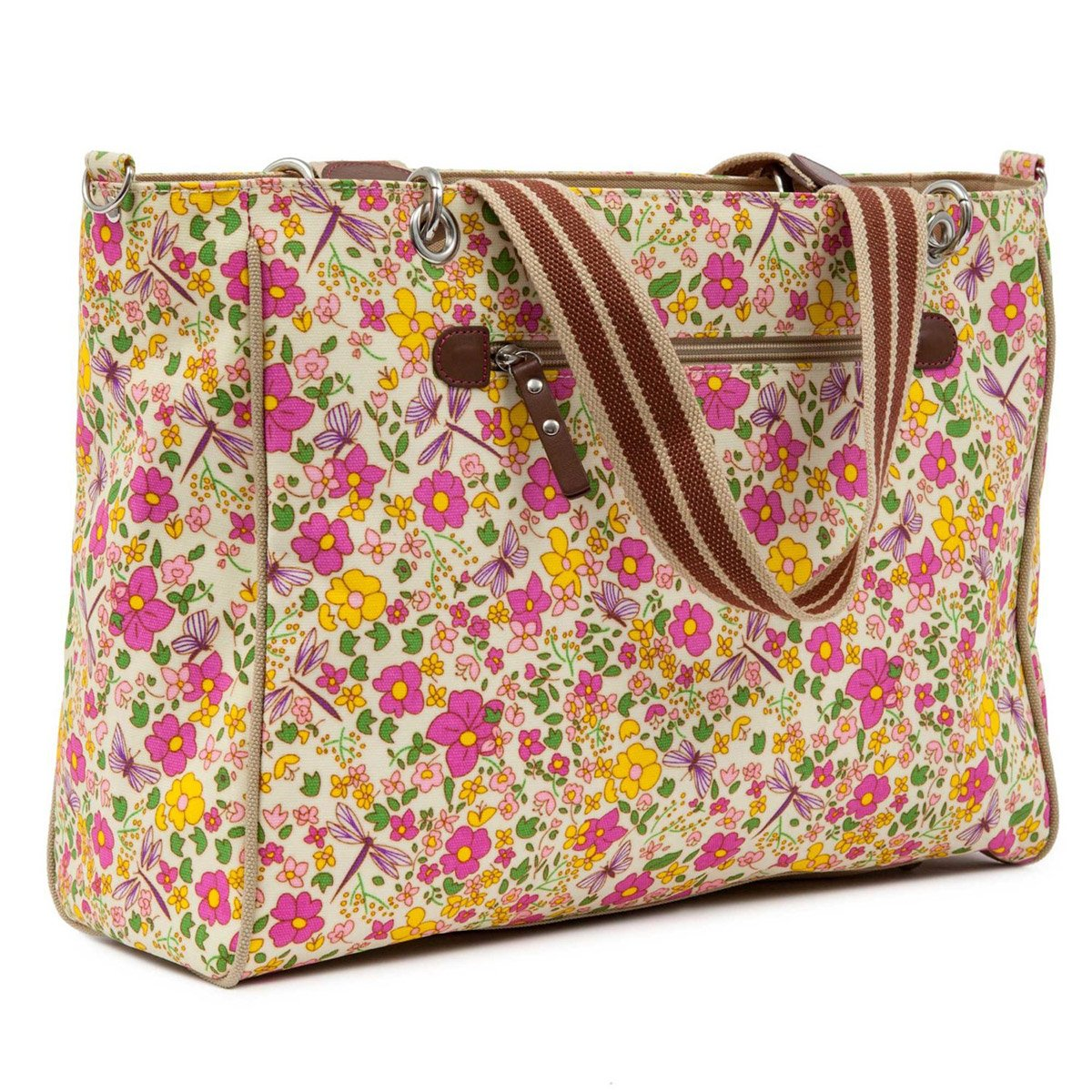 Pink Lining Bramley Tote Cream Butterflies Changing Bags Navy
