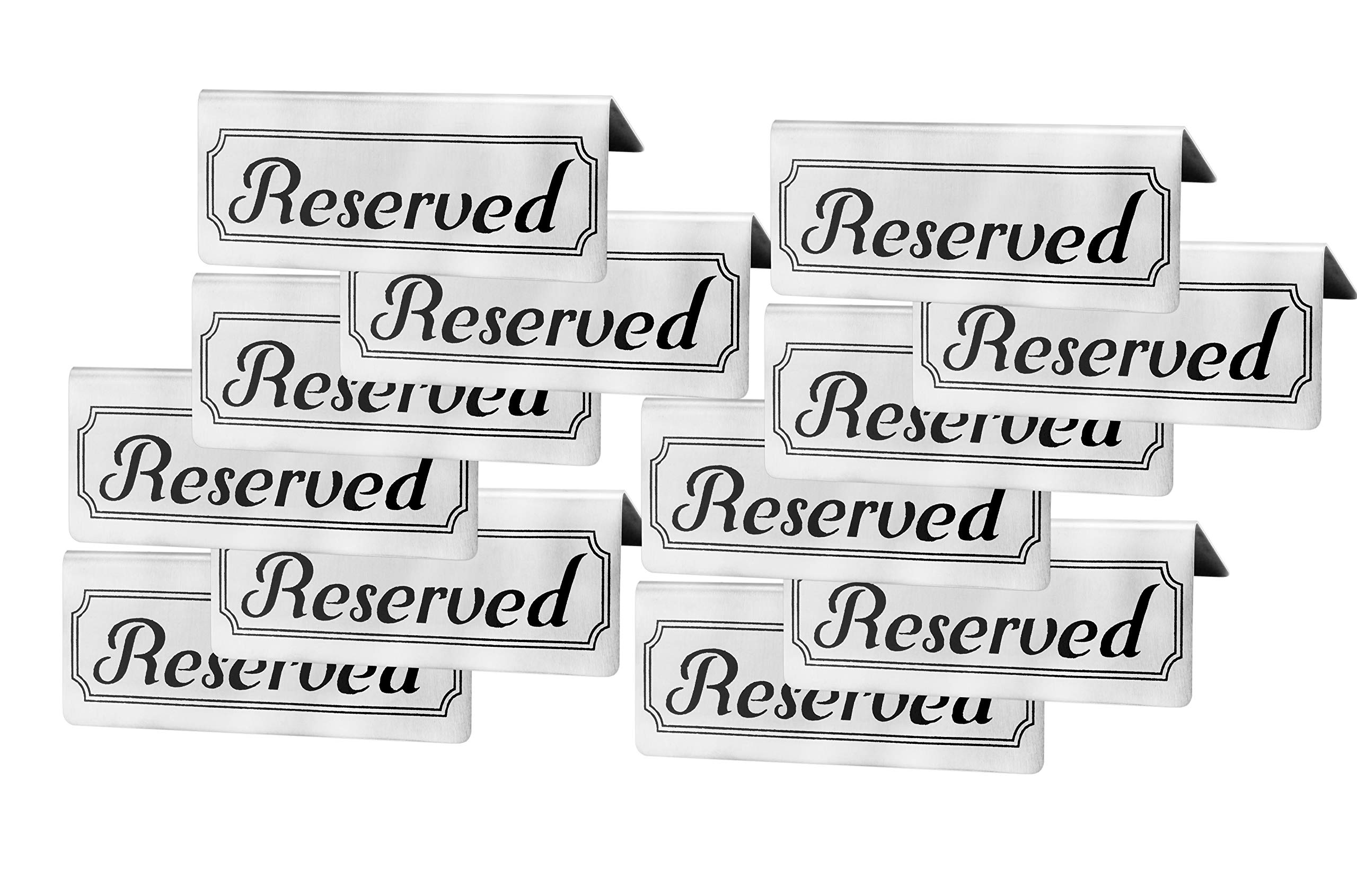 Stainless Steel Reserved Table Signs (12-Pack); 4.75-Inch by 2-Inch Tent Style Silver Signs with Black Print by Darware