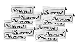 Stainless Steel Reserved Table Signs (12-Pack); 4.75-Inch by 2-Inch Tent Style Silver Signs with Black Print