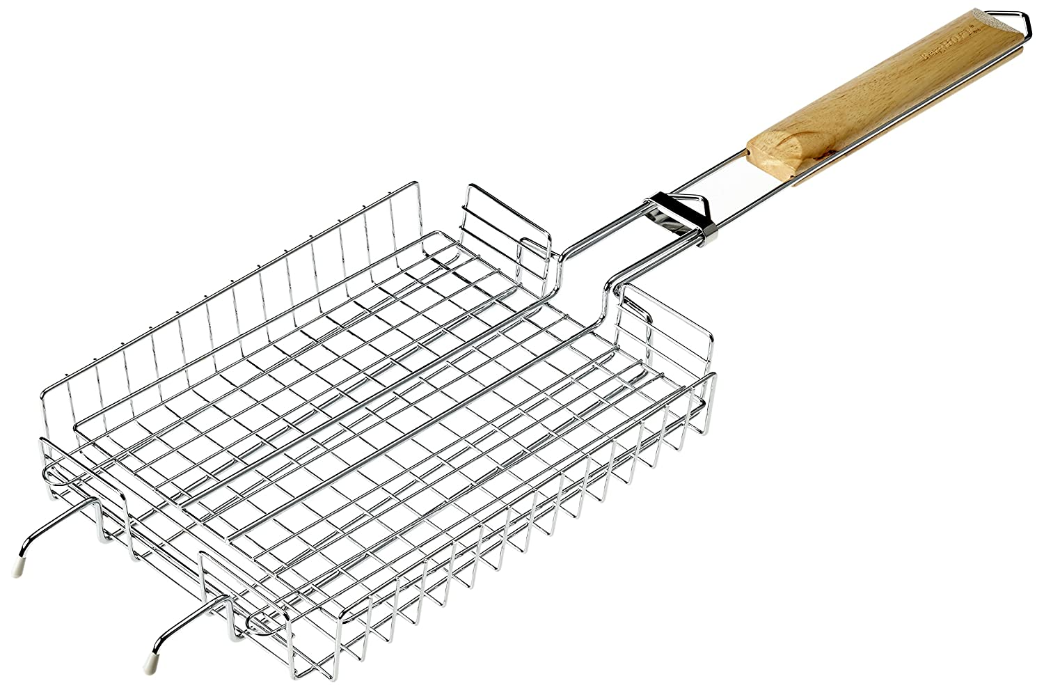 BergHOFF 63.5 x 21 cm Non-Stick Universal BBQ Grilling Basket with Long Oak Wood Handle - Silver 4490302