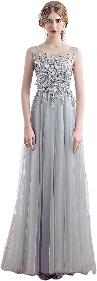 Cinry's Moda Women's Elegant Sleeveless Long Prom Dresses