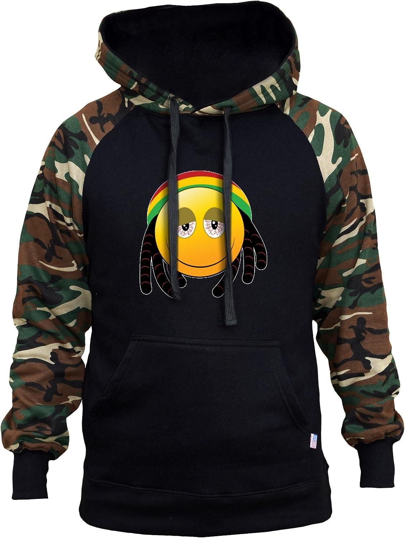 Mens Emoji Rasta Face /Black//Camo Raglan Baseball Hoodie