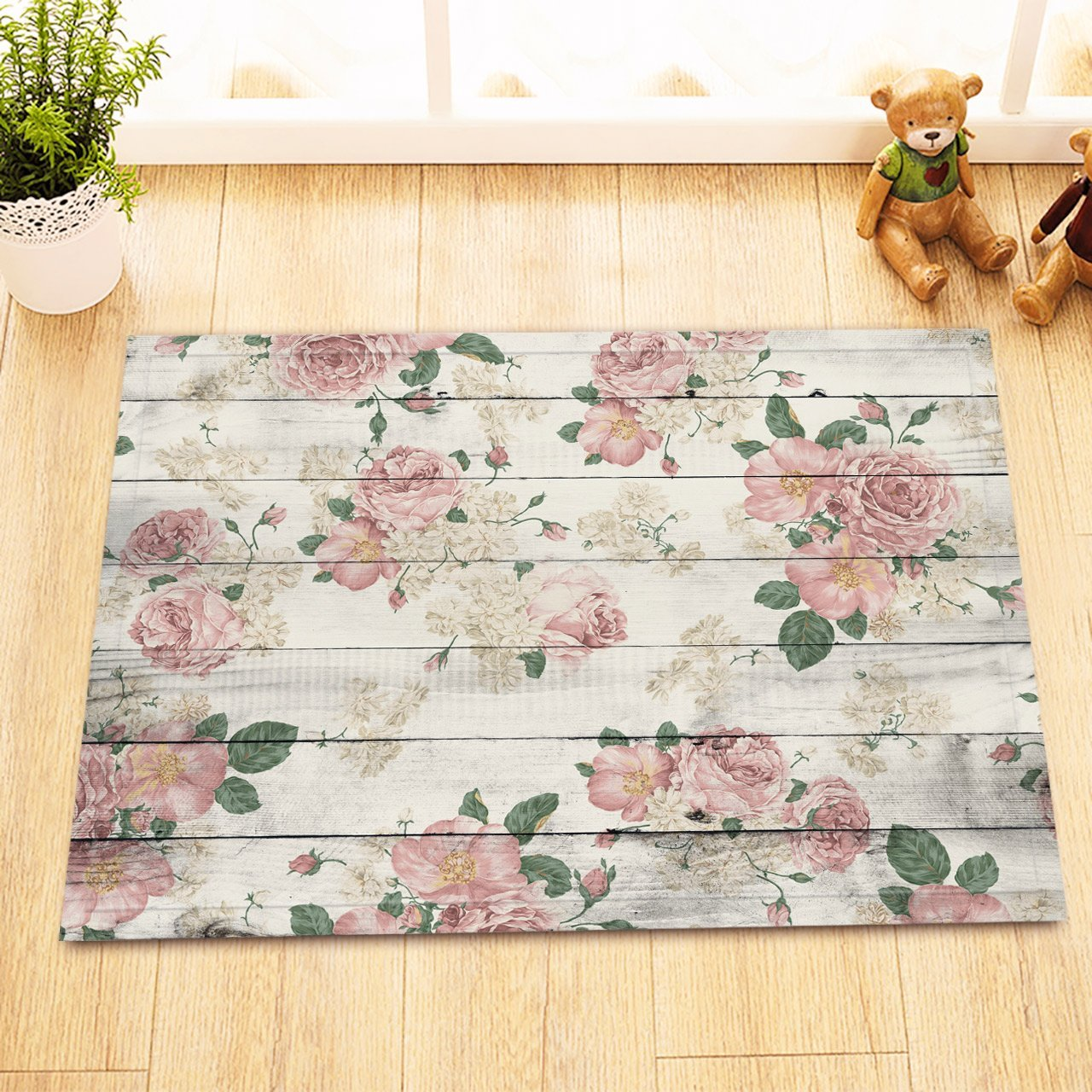 LB Pink Rose Bathroom Rug, Customized Rustic Flowers on Wood Panel Non-slip Bathroom Rugs and Mats 16 x 24 Inch