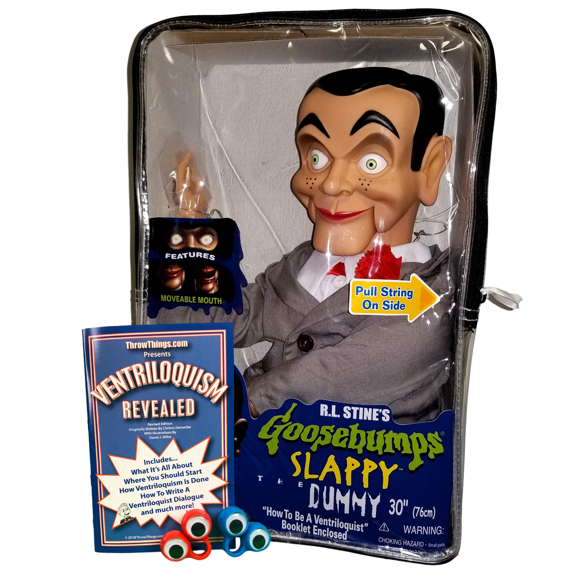 ThrowThings.com Bonus Bundle! Slappy from Goosebumps Ventriloquist Dummy Doll (Non Glowing Eyes) Plus Ventriloquism Revealed Booklet Plus Two Finger gEyes