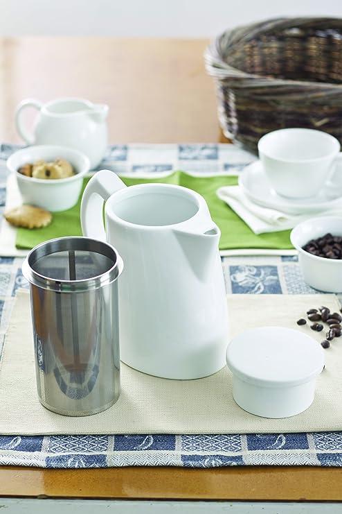 18//8 Blanc 1,3 l Sowden SoftBrew Oskar Cafeti/ère en Porcelaine avec Filtre en Acier Inoxydable SUS 304