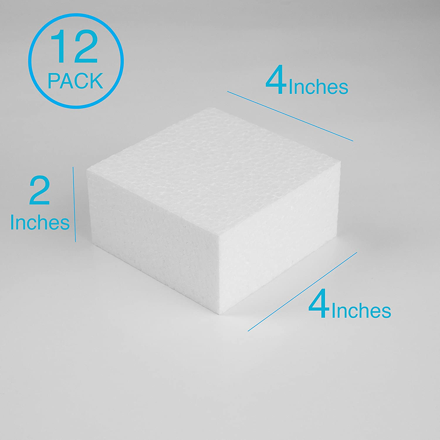 Art Projects and Floral Arrangements Silverlake Craft Foam Block Sculpting Blocks for DIY School and Kids Art Projects Modeling 12 Pack of 4x4x2 inch EPS Polystyrene Square Blocks for Crafting