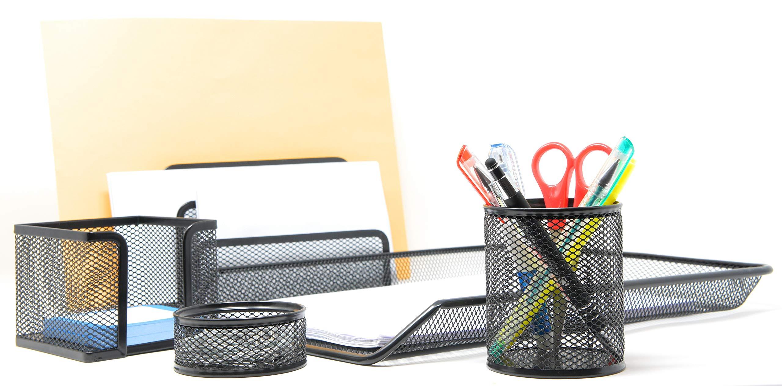 Mesh Desk Organizer Set - 5 Piece Set Black Color - Office Supply Desk Organizers (5 Pc) by Good Buy Gifts