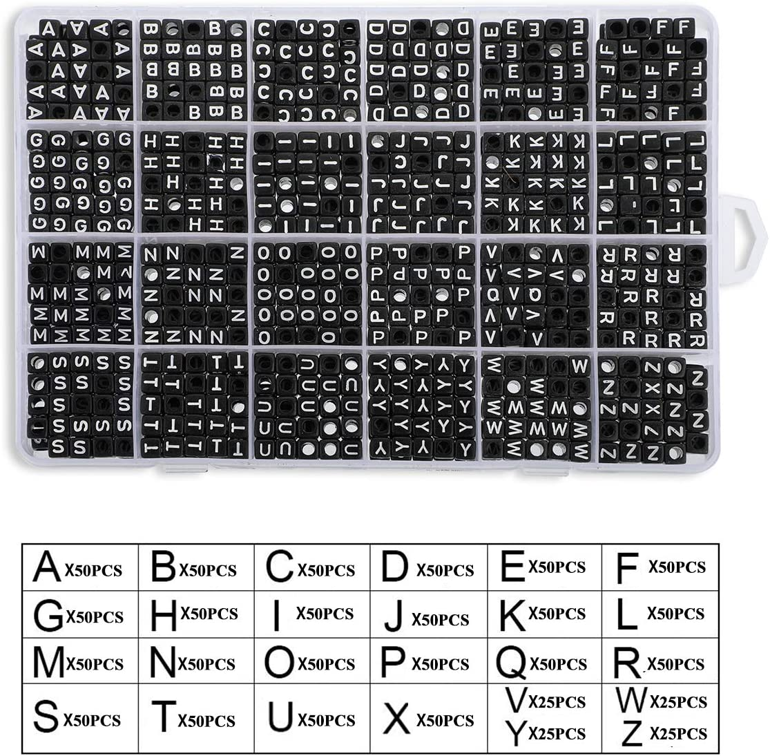 Vowel Letter Beads for Jewellery/&Making Kids/&Crafts/&Name Bracelets 7x4mm Sorted Alphabet Beads and Black Acrylic Letter Bead Kit 1620 Pieces A-Z Letter Beads