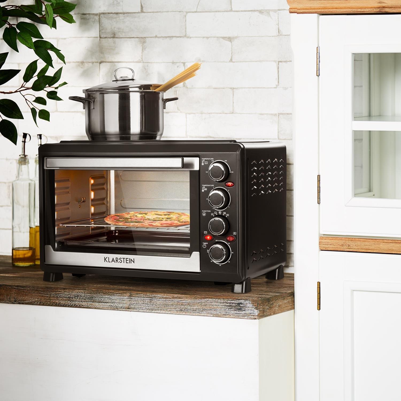 Klarstein Masterchef 38 • Mini horno • 1600 W • Parrilla con función de rostizador • Volumen 38 L • 2 placas de calentamiento 3200 W • 0-500 ° C • ...