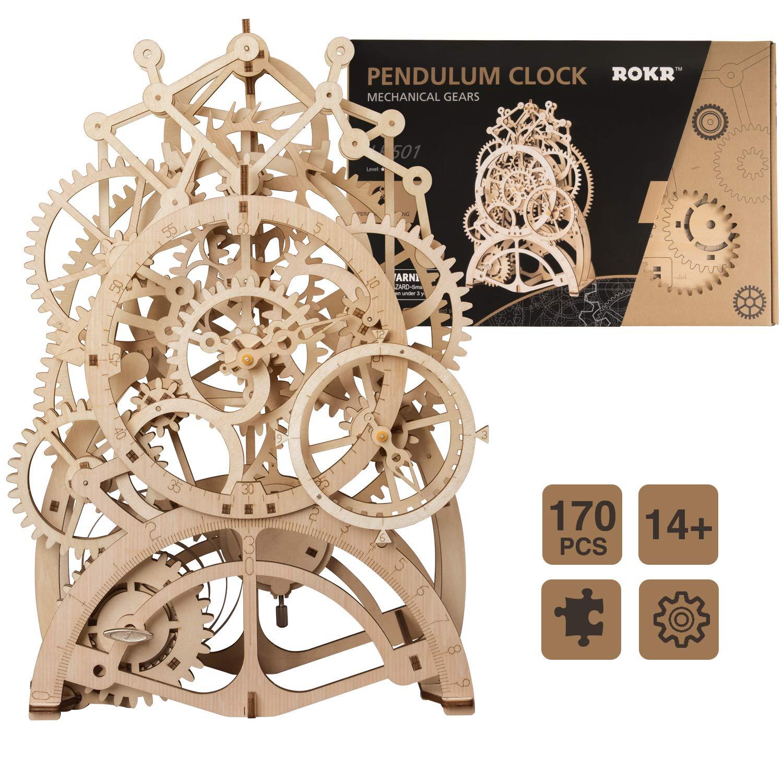 ROKR B07NQ9QBJX Clock 木製パズル ギア付き 機械式モデル組み立てキット モデル組み立て Pendulum 動くキット エンジニアリングおもちゃ 大人用 ZRUSROKR-LK501 Pendulum Clock B07NQ9QBJX, 有珠郡:c89b32ad --- m2cweb.com