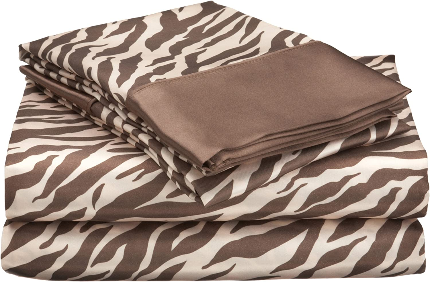 Divatex Home Fashions Royal Opulance Satin Cal King Sheet Set, Zebra, Brown/Ivory