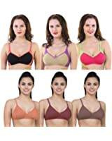 Yes Beauty Multi Colour Non-Padded Seamless Bra with Full Adjustable Straps and Cotton Fabric (incl. 6 Bras)