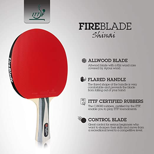 5-ply Allwood ITTF Approved Table Tennis Bat with Case FireBlade /'Shinai/'