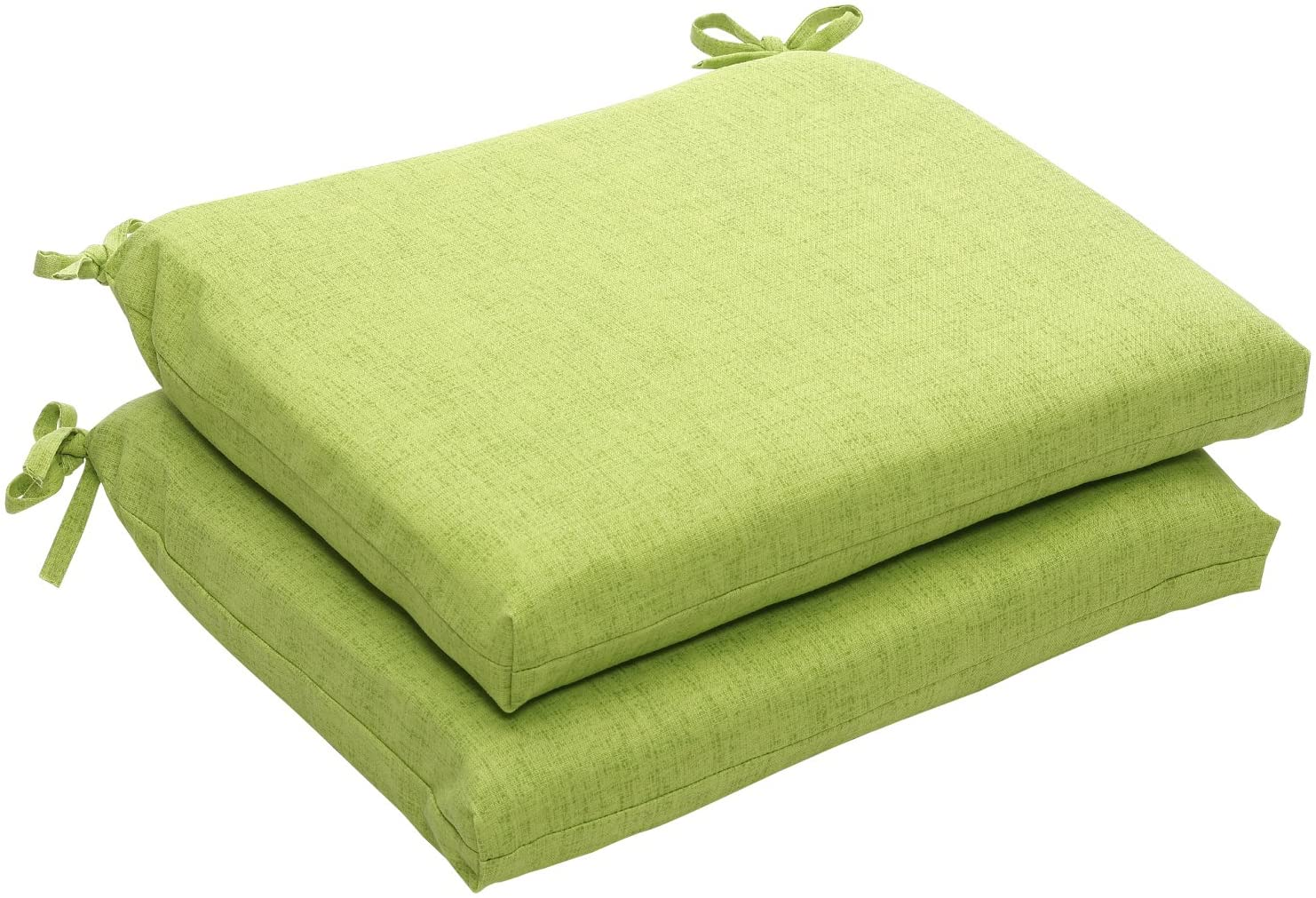 Pillow Perfect Indoor Outdoor Green Textured Solid Square Seat Cushion, 2-Pack