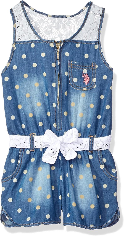 Girls Lace and Dots Tencel Denim Romper Polo Assn U.S